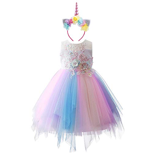 - Baby Girl Unicorn Costume Pageant Ball Gown Flower Princess Party Tutu Dress with Headband 2pcs Set 5-6 Years