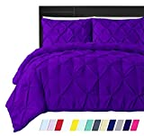 Dakus Beddings Pinch Pleated Duvet Cover with Zipper & Corner Ties 100% Organic Cotton 950 TC Pintuck Decorative, Oversized King (120 x 98 Inch) Size, Purple Solid