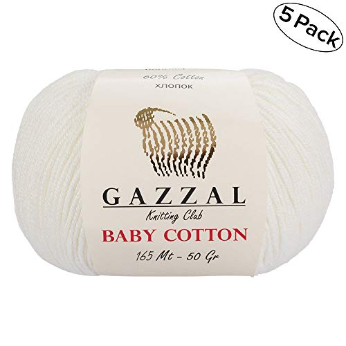 (Gazzal Baby Cotton 1.76 Oz (50g) / 150 Yrds (165m) Soft, Fine Baby Yarn, 60% Cotton(White - 3410))