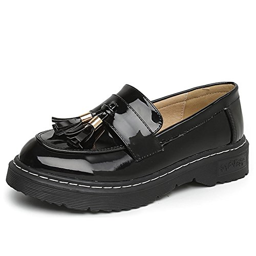 Black Loafer Round Btrada Casual Toe Women Oxford Tassel Shoes Wingtip Shoes Oxford 88wq6P4