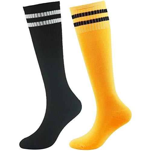 (Boys Baseball Socks, Hockey Tube Socks for boys saillsen School Team Sport Soccer Football Volleyball Handball Knee High Socks for Kids Classic Striped School Uniform Socks, 2 Pairs-Black &)