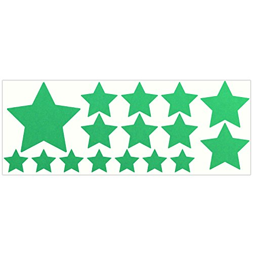 LiteMark Reflective Green Assorted Stars Sticker Decals for Helmets, Bicycles, Strollers, Wheelchairs and More - Pack of 16