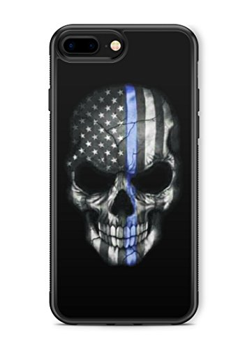 407Case iPhone 7 Plus+/8 Plus+ Thin Blue Line Hybrid Rubber Protective Case Blue Lives Matter Skull (Compatible with iPhone 7 Plus+/8 Plus+)