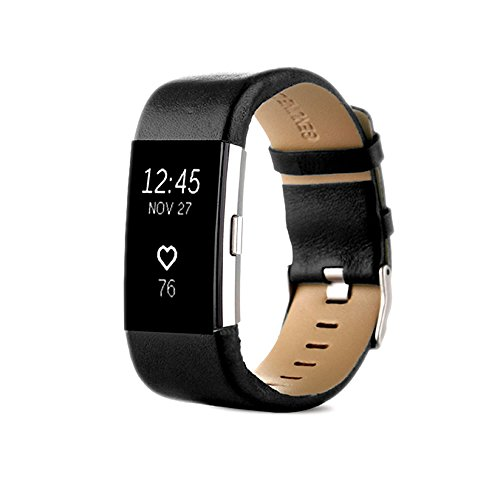 PINHEN for Fitbit Charge 2 Replacement Watch Bands - Charge2 Genuine Leather Wristband Replacement Accessory Bracelet Metal Band Fitbit Charge 2 (Black)