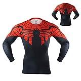 Arsuxeo Spiderman 3D Shirts Men Compression Long Sleeve T Shirts Superhero Quick Dry Spiderman-Black US M/Tag L