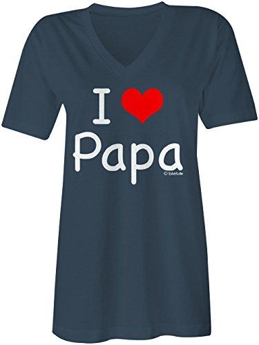 I Love Papa �?V-Neck T-Shirt Frauen-Damen �?hochwertig bedruckt mit lustigem Spruch �?Die perfekte Geschenk-Idee