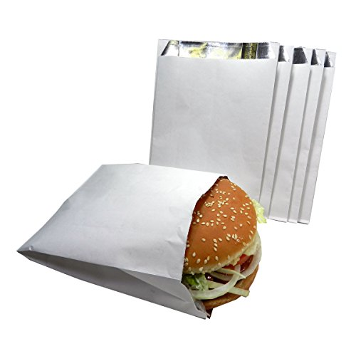Regency Wraps RW105 White with Foil Lining to Retain Heat Hamburger Bags, 100 count,