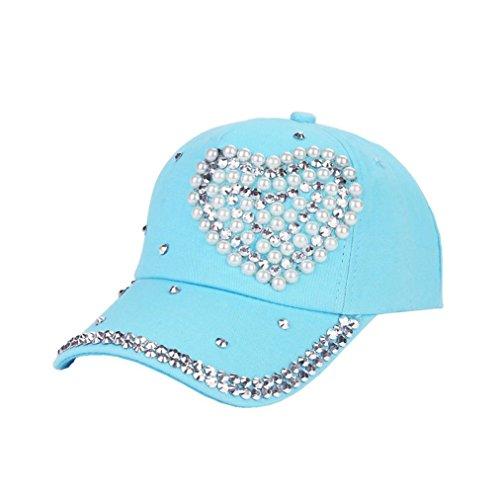 Baseball Climbing Cap (Elevin(TM)Women Cotton New Fashion Baseball Cap Rhinestone Snapback Baseball Hat Cap (H))
