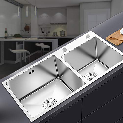 FChome Kitchen Sink Double Bowl,30.7X17 Inch Undermount Stainless Steel Kitchen Sink 3mm Thickness with Free Accessories,Brushed Nickel by FChome (Image #2)