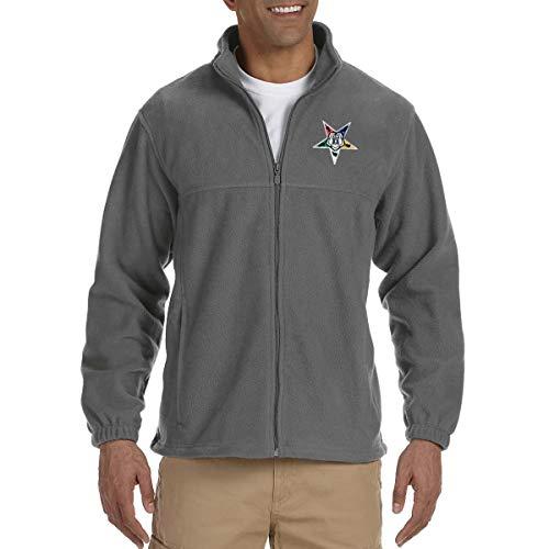 Order of The Eastern Star Embroidered Masonic Men's Fleece Full-Zip Jacket - [Charcoal][Medium]