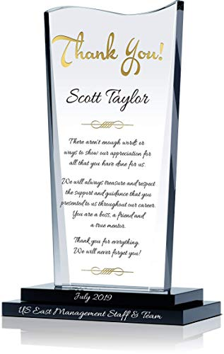 Personalized Crystal Farewell Gift for Boss Leaving or Retiring, Customized with boss Name and Farewell Message, Unique Going Away Gift for boss, Manager, Supervisor and Other Leaders (L - 9