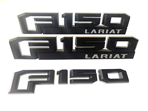 3pcs F-150 LARIAT Emblems, F150 Lariat Fender Tailgate Decal 3D Badge Nameplate Replacement for 2015-2019 Ford F-150 Black/White