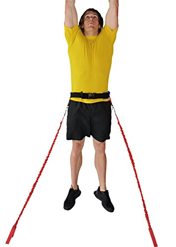 SPEEDSTER Sky Leaper Jump Trainer with Covered Cord 2 MEDIUM RESISTANCE SAFETY SLEEVE CORDS AND 1 PADDED WAIST - Trainer Resistance Safety