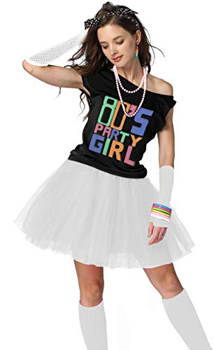 Xianhan 1980s Outfit 80's Party Girl Retro Costume Accessories Outfit Dress for 1980s Theme Party Supplies (S/M, White) -