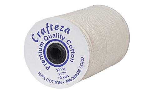Crafteza 32-Ply 3 MM X 70 Yards (about 64 meters) Natural Cotton Macrame Cord For Making Macrame Tapestry Wall Hanging Crocheting DIY Craft Handmade Decorations Plant Hangers Pot Holders and Bracelets