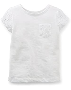 Carters Baby Clothing Outfit Girls Lace Sleeve Pocket Tee T-shirt White