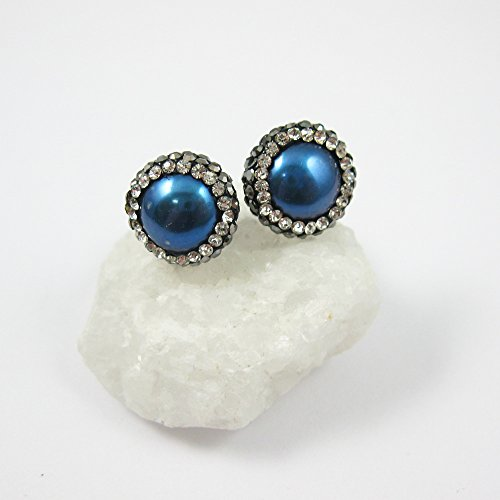 Blue Freshwater Pearl Pave Earring Studs, 22K Gold plated Solid Sterling Silver Vermeil - Zircon Pave - 1 pair ()