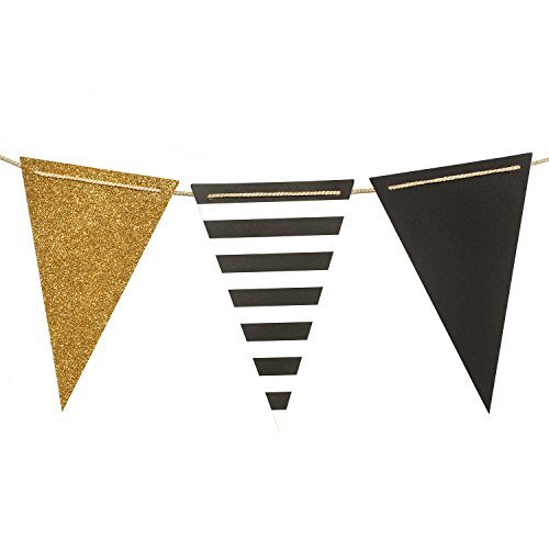 Ling's moment Paper Bunting Triangle Flags Banner Vintage Pennant Banner for Wedding, Bachelorette Party, New Year Party, Birthday, Graduation, Baby Shower, 15pcs Flags(Gold+Black+French Stripe) -