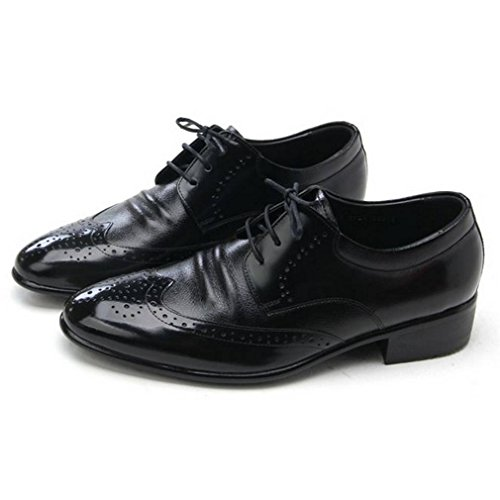 Epicstep Heren Lederen Wingtip Schoenen Jurk Formele Zakelijke Casual Lace Up Oxfords Loafers Zwart