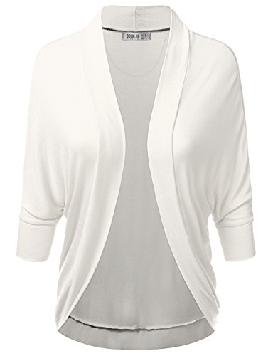 Doublju Soft Knit Dolman Sleeve Loose Fit Open Cardigan For Women With Plus Size IVORY LARGE