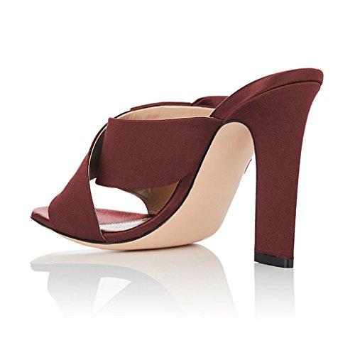 Sandalias De Muj Mujeres Dedo Del Pie Abierto Deslizan Tacones Fornidos Con Arco Zapatos De Correa Cruzada Tamaño 4-15 Vino De Ee. Uu.