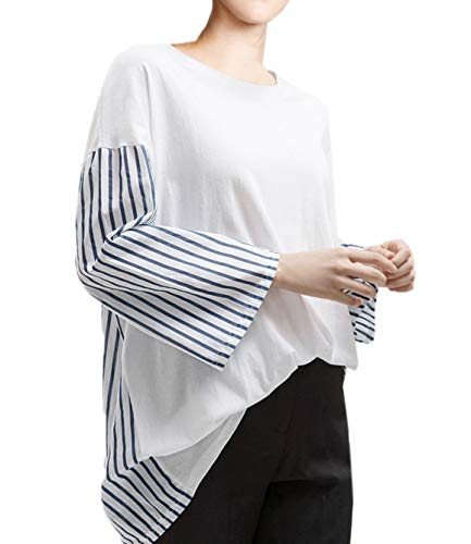 Printemps Tees Shirts Blouse Longues Hauts Lache et Manches Sweat Mode Casual Shirts Femmes Jumpers Raye T Rond Tops Blanc Col Automne Onlyoustyle pissure R7dqRH