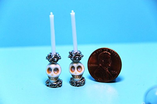 Princess Candlestick (Dollhouse Miniature Halloween Skull Bone Skeleton Candlesticks with Candles - My Mini Fairy Garden Dollhouse Accessories for Outdoor or House Decor)