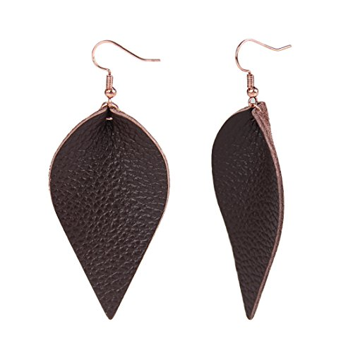 YOUTH UNION Genuine Leather Teardrop Earrings Boho Shard Lattice Leaf Dangle Pierced Earrings (Brown 2)