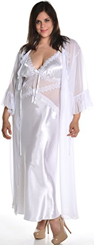Vx Intimate Women's Silky Nightgown and Chiffon Long Robe Set #60743074/X/XX (6X, White) (Robe Shirley Chiffon)