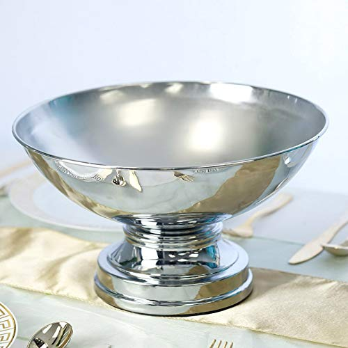 BalsaCircle 12-Inch Tall Silver Compote Bowl Centerpiece Pedestal Table Vase - Wedding Party Table Home Decorations