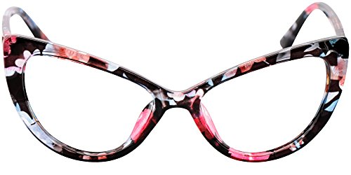 SOOLALA Womens Oversized Fashion Cat Eye Eyeglasses Frame Large Reading Glasses, Floral, ClearLens