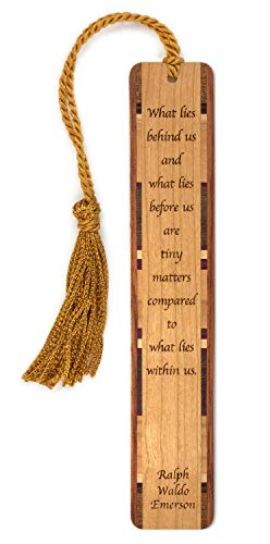 Inspirational Bookmark - What Lies Within Us Quote by Ralph Waldo Emerson Engraved Wood Bookmark with Inlays and Tassel - Personalized Version Also Available - Search B0719T8ZNB