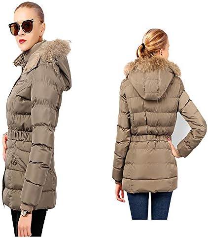 Initial Veste d'hiver pour Femmes Collier en Peluche Couleur Solide à Long Capuchon Veste Matelassée Khaki-M