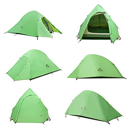 Topnaca 2-3 Person 4 Seasons Double Layer Backpacking Tent, Free Offer a Groundsheet, Aluminum Rod Anti-UV Windproof Waterproof, for Camping, Hiking, Travel, Hunting (Green-2 Person)