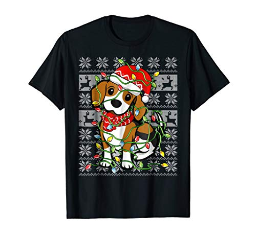 Beagle with Santa Hat Ugly Christmas Lights Pajamas Shirt