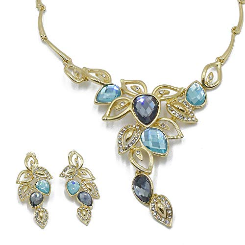 - La Homieta Bridal Austrian Crystal Luxurious gold chain Pendant Necklace and Earring Jewelry Sets(grey&sky blue)