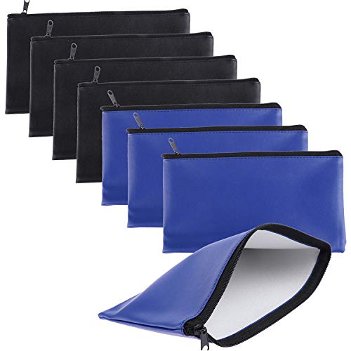 Xgood 8 Pieces Bank Deposit Money Bag Leatherette Securit Vinyl Zipper Pouches Wallet Utility Zipper Coin Bags for Cash Money, 11x6in (Black+Blue)