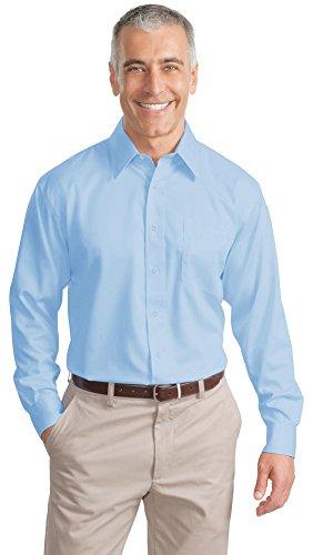(Port Authority Tall Long Sleeve Non-Iron Twill Shirt, Sky Blue, XX-Large Tall)