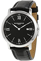 Baume and Mercier Classima Executives Black Dial Stainless Steel Mens Watch 10098
