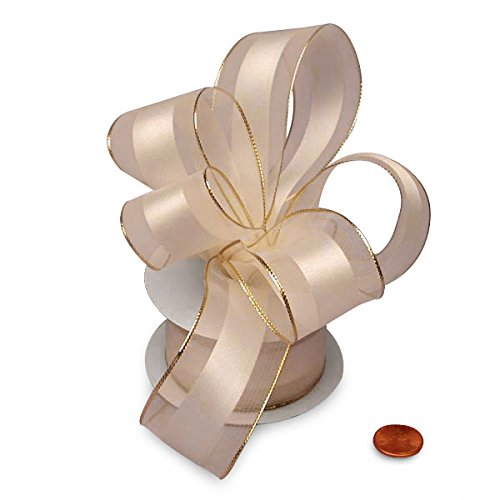 Ivory and Gold Wired Satin Ribbon 1 1/2