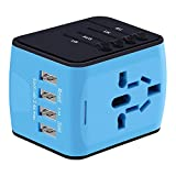 Travel Adapter, International Power Adapter with 4 USB,European Adapter for UK,US,AU,CA,India,Europe 150+ Countries All In One Universal Travel Adapter Plug for iPhone, Android,All USB Devices (Blue)