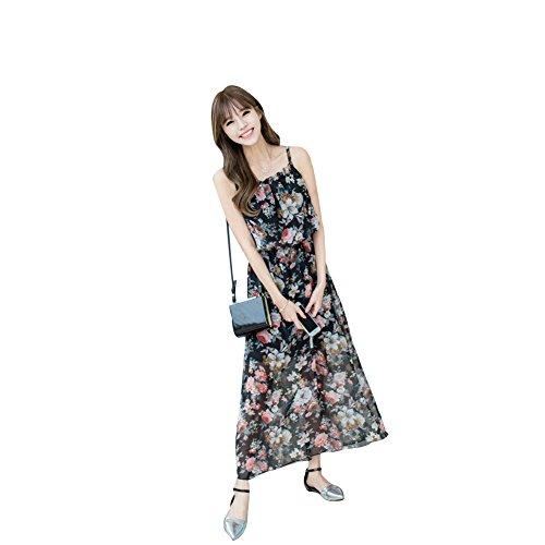 シェルタープレビスサイト蒸留するレディース シフォン ワンピース キャミ 花柄 ドレス フリル ノースリーブ かわいい 着痩せ ワンピ ビーチ リゾー