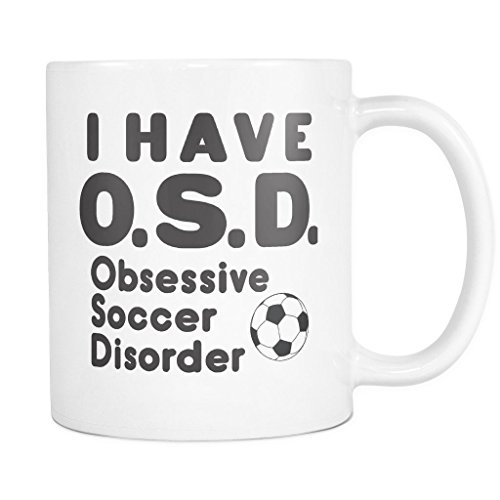 ArtsyMod OSD OBSESSIVE SOCCER DISORDER Premium Coffee Mug, PERFECT FUN GIFT for the Soccer Player or Lover! Attractive Durable White Ceramic Mug (11oz., Black Text)