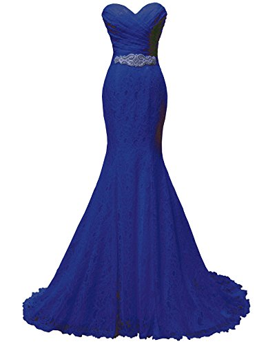 (SOLOVEDRESS Women's Lace Wedding Dress Mermaid Evening Dress Bridal Gown with Sash (US 14,Royal Blue))