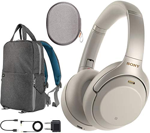 Sony WH1000XM3 Premium Noise Cancelling Wireless Bluetooth Headphones with Built in Microphone WH-1000XM3 S Silver Commuter s Bundle with Deco Gear Travel Backpack with Gadget Compartment USB Port