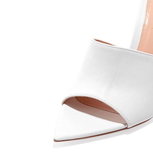 White Sexy High Fashion on Size Shoes Cm Mid Open Heels FSJ Sandals Suede Women 10 Toe Slip Slide 15 Mules US 4 t4wq5H