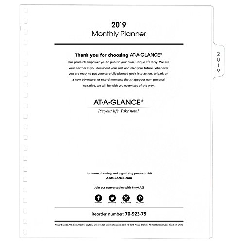 AT-A-GLANCE 2019 Monthly Planner Refill, January 2019 - December 2019, 9