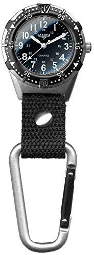 Black Pocket Clip Watch - Dakota 2844-4 Men's Aluminum Backpacker Clip Watch, Black