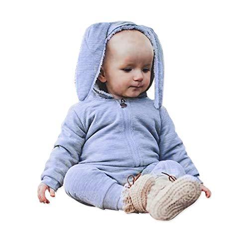 Simplee Kids Animal Bunny Baby Easter Pajamas Long Ear Rabbit Hoodie Romper (Grey) (Blue, X-Small) ()