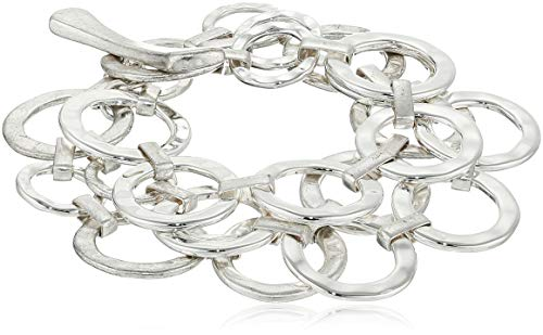 Robert Lee Morris Women's Hammered Circle Link Multi Row Toggle Bracelet, Silver, One ()